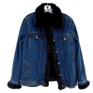 Dennis Basso Black Faux Fur Denim Jacket